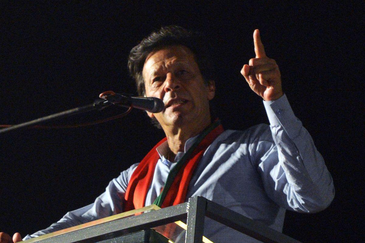 Pro-Balochistan supporters raise slogans during Imran Khan's address in US