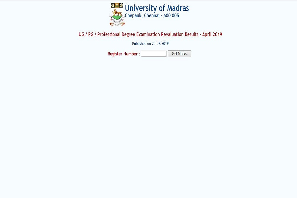 Madras University revaluation result 2019, Madras University results 2019, Madras University result, unom.ac.in, Madras University, Madras University revaluation result