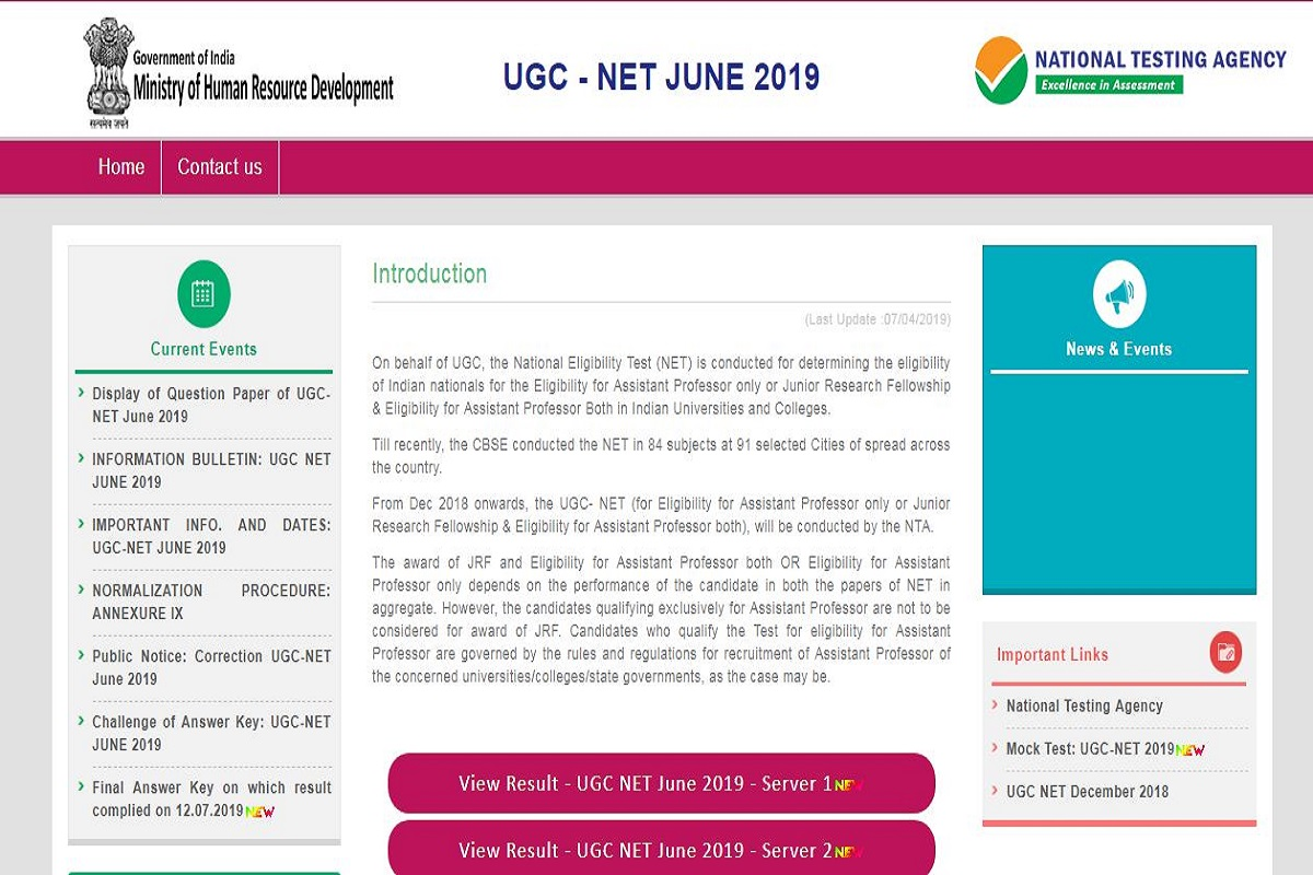 NTA NET June results 2019 declared at ntanet.nic.in | Direct link available here
