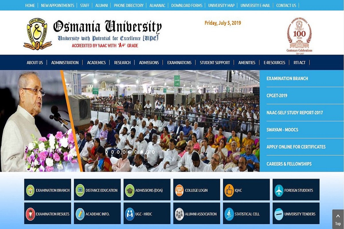 Osmania University CPGET hall ticket 2019, Osmania University, Osmania University hall ticket, CPGET hall ticket 2019, osmania.ac.in