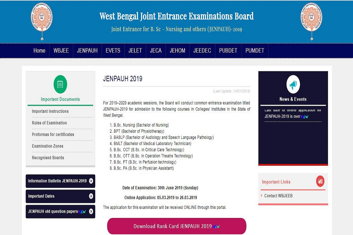 WB JENPAUH result 2019 declared at wbjeeb.nic.in | Here's how to check results