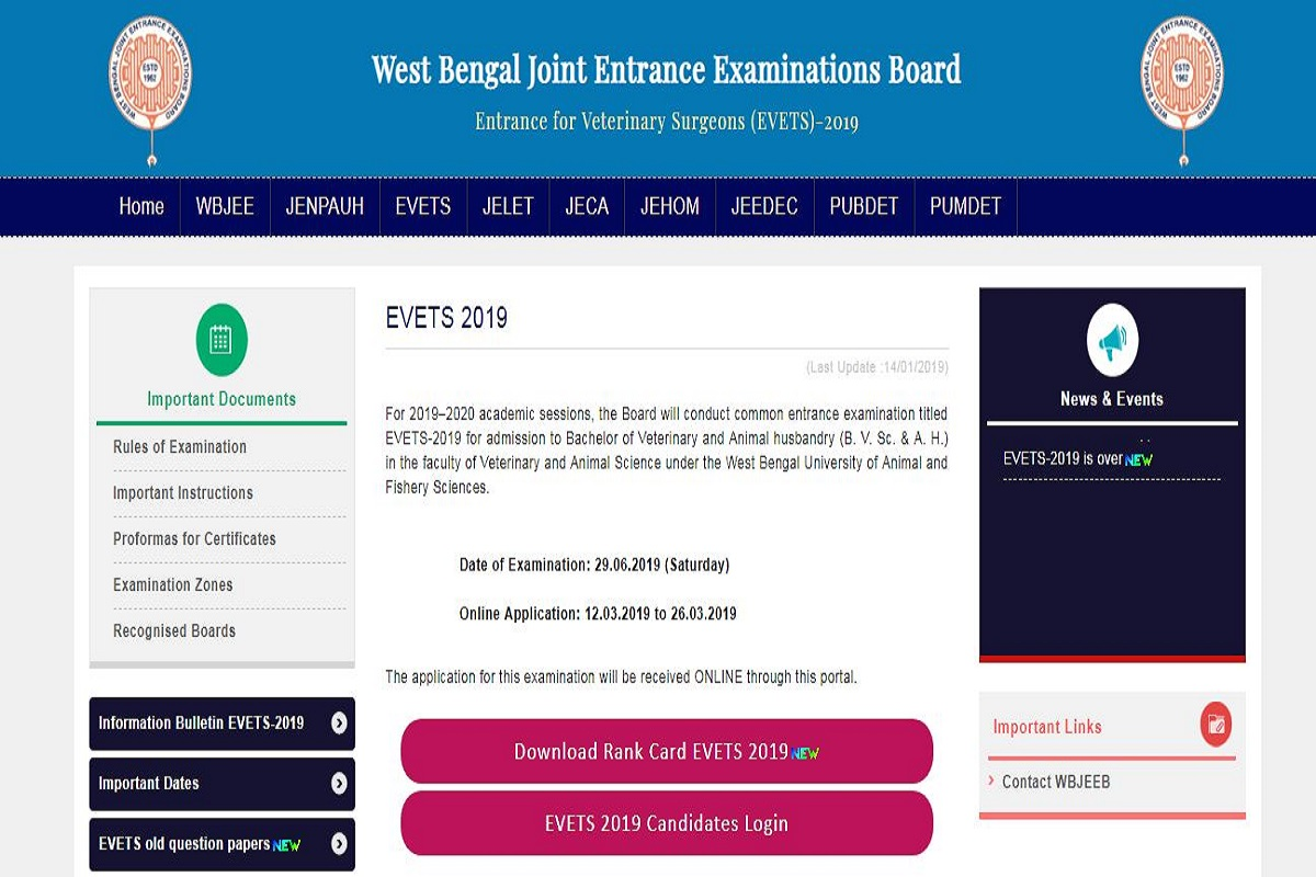 West Bengal EVETS results 2019, West Bengal EVETS results, wbjeeb.nic.in, West Bengal Joint Entrance Examinations Board, EVETS results 2019