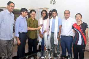 Kiren Rijiju meets newly crowned champion PV Sindhu