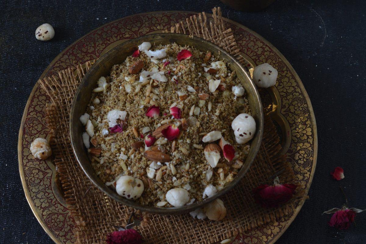 Janmashtami, Prasad, Lord Krishna, Dhaniya Panjiri, Gokulashtami, falahari sweet, recipe panjiri