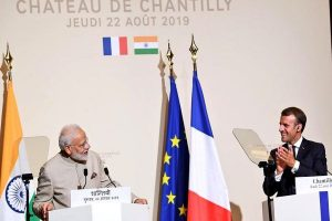 PM Modi in France on first leg of 3-nation trip; Macron against 'third party' interference in Kashmir