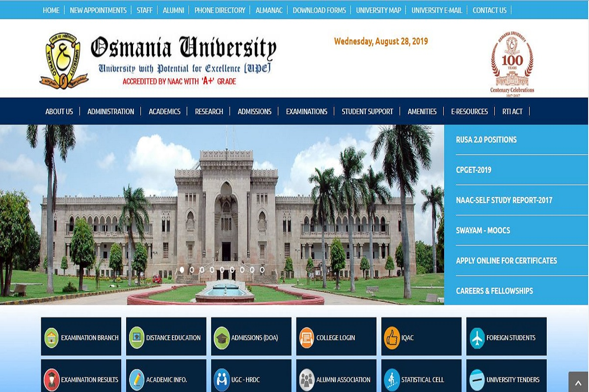 Osmania University Revaluation results 2019, Osmania University results 2019, osmania.ac.in, Osmania University Revaluation results, Osmania University results