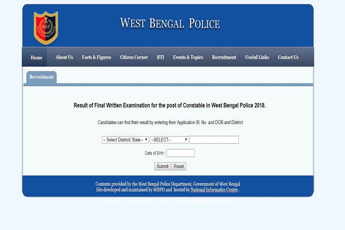 West Bengal Constable Exam results 2019, West Bengal Constable Exam, West Bengal Constable results, wbpolice.gov.in, West Bengal Constable results 2019