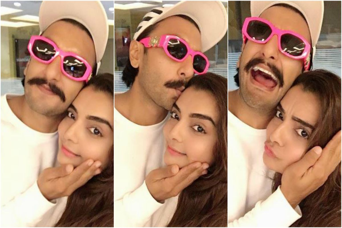 Ranveer, Vaibhavi poses for unmissable selfies, his neon pink shades steal the show