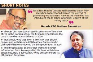 Narada: Mukul skips CBI summons