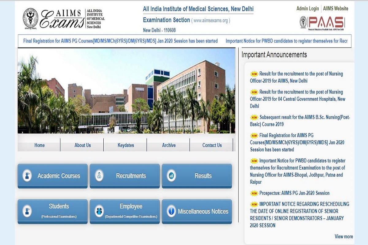 AIIMS Nursing Officer results 2019 declared at aiimsexams.org | Here's how to check results