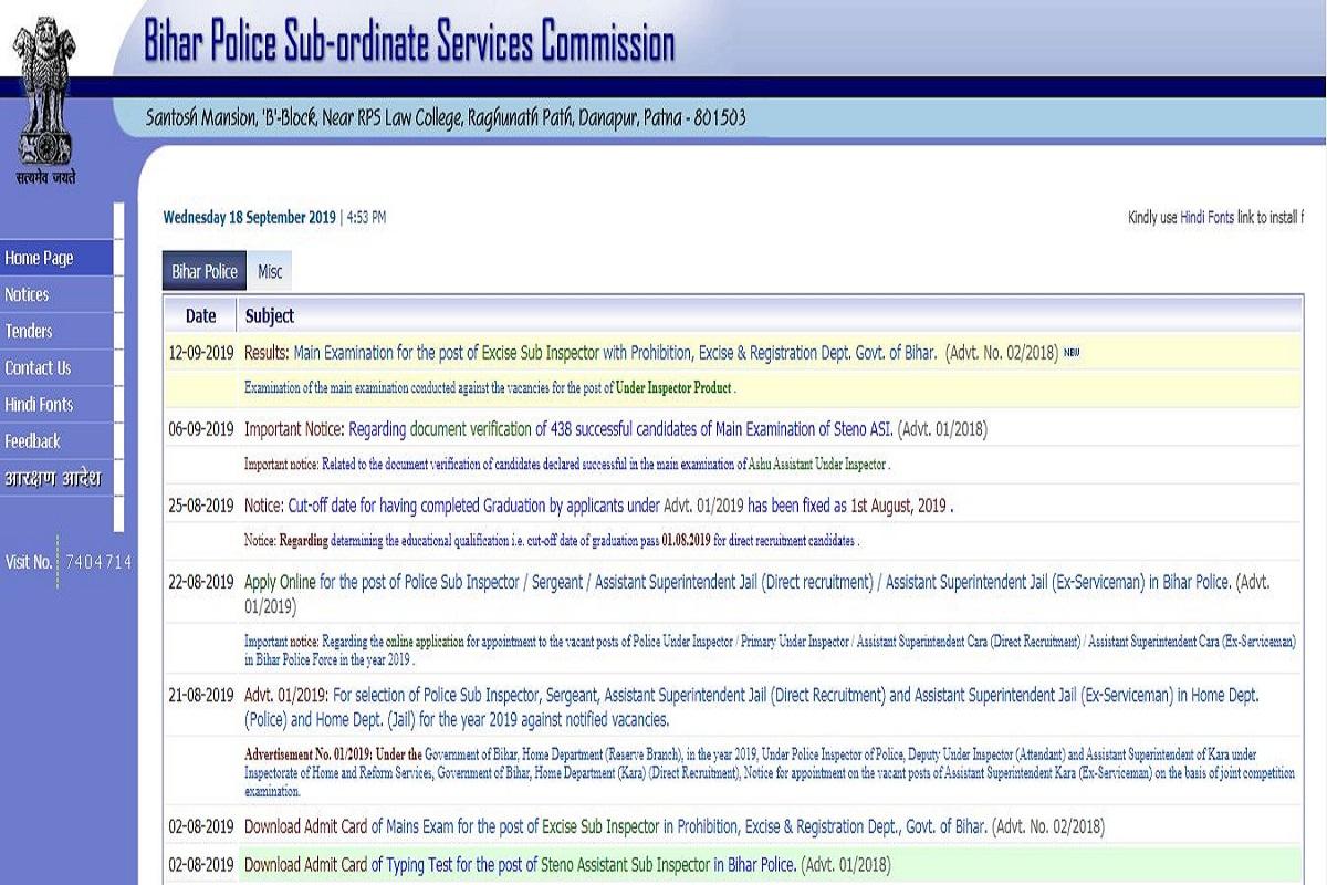 Bihar Police recruitment 2019, Bihar Police recruitment, bpssc.bih.nic.in, Bihar Police SI recruitment