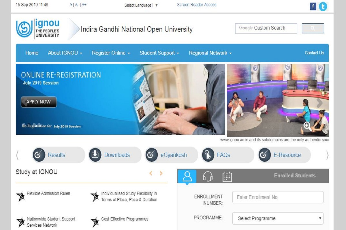 IGNOU TEE December 2019: Datesheet released at ignou.ac.in, exams from December 2