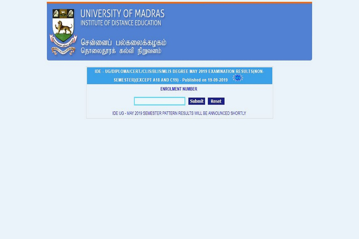 Madras University distance results 2019 declared at unom.ac.in | Here's how to check results