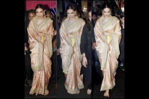 Deepika Padukone attends Ganesh Utsav in pastel green Sabyasachi sari