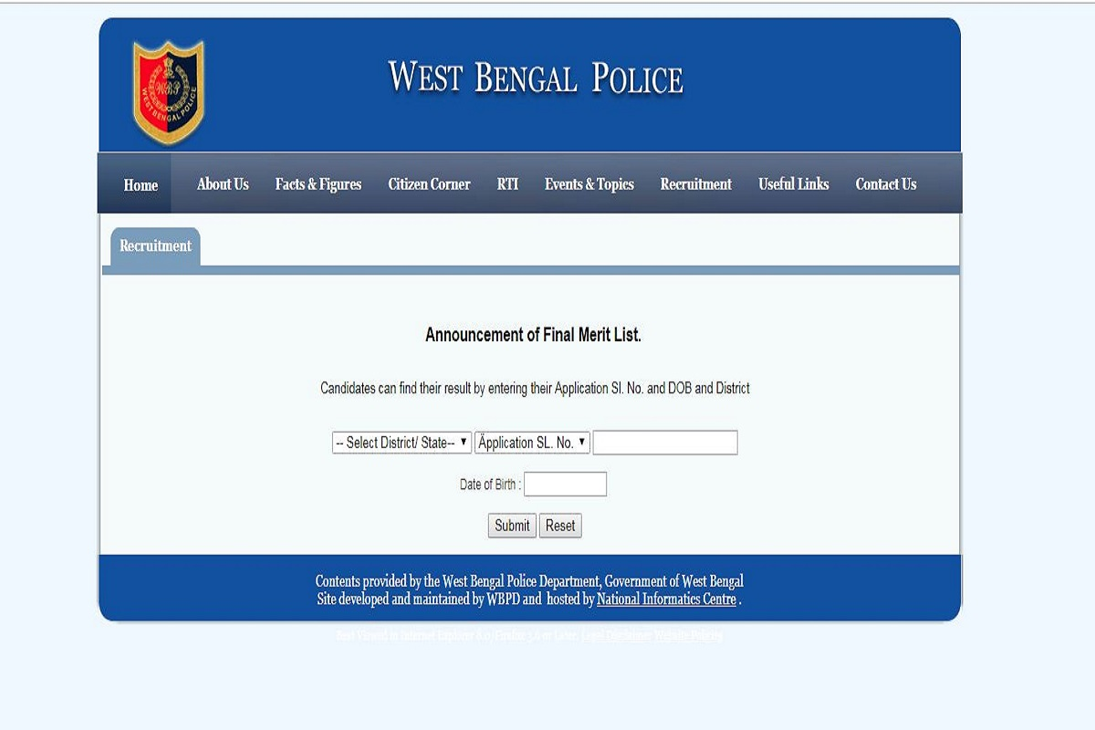 West Bengal SI/ Lady SI results 2019, West Bengal SI results, West Bengal results 2019, wbpolice.gov.in, West Bengal Lady SI results