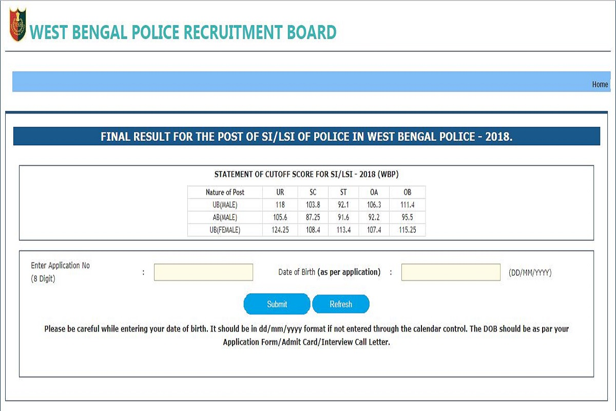 West Bengal SI final results 2019 declared at wbpolice.gov.in | Check results now