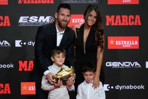 Watch | Lionel Messi presented with record sixth Golden Shoe award by his sons