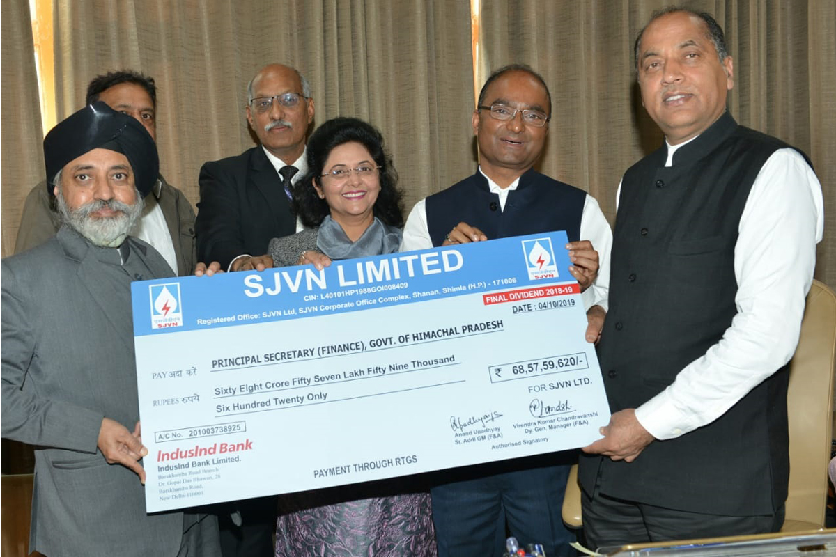 SJVN pays Rs 68.58 crore as yearly dividend to state government