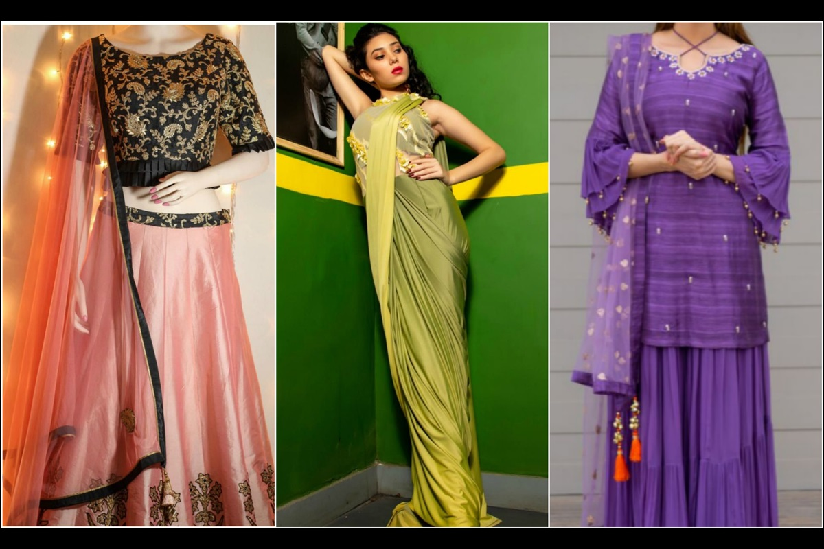 Diwali, Cape sleeve Kurtas, Drape Saree or gowns, Sharara with bell sleeves, Lehengas, Diwali outfit