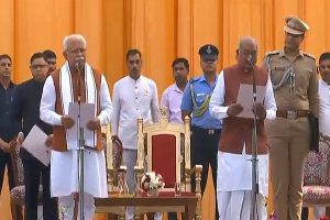 ML Khattar takes oath as Haryana CM, Dushyant Chautala as his deputy