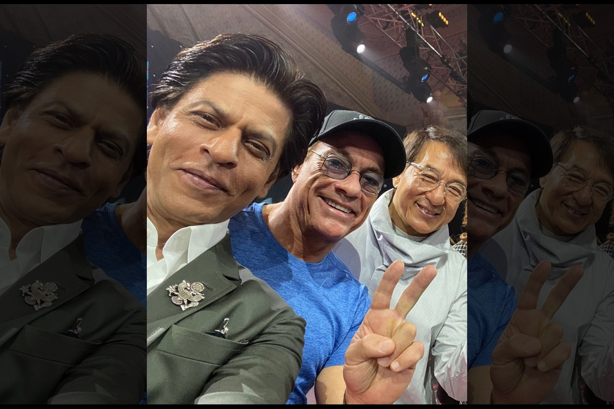 Shahrukh Khan poses with his 'heroes' Jackie Chan, Van Damme