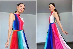 Karisma Kapoor gives major fashion goals in rainbow pleated dress