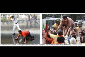 BJP Yuva activists clash with cops in city, dozens arrested
