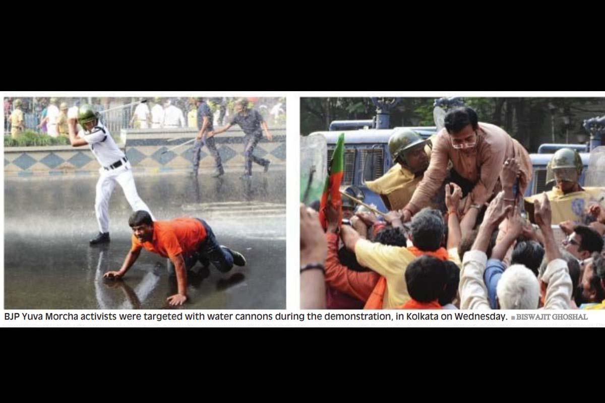 BJP Yuva Morcha, BJYM, saffron brigade, Chandni Chowk, central Kolkata, Kolkata Municipal Corporation, S N Banerjee