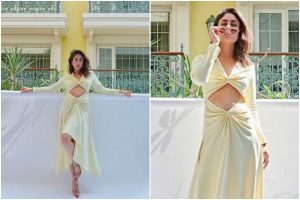 Kareena Kapoor Khan flaunts her washboard abs in yellow cutout dress