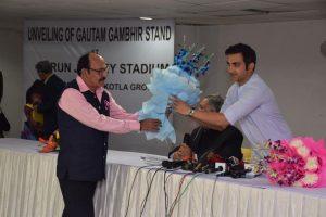 Stand named after Gautam Gambhir unveiled at Arun Jaitley Stadium