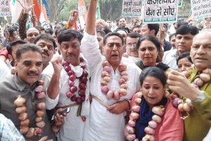 Delhi Congress holds massive protest against Delhi, Central governments over onion price