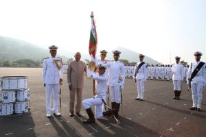 President's Colour for Indian Naval Academy on completing 50 glorifying years