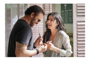 Katrina Kaif shares a moment with Rohit Shetty on Sooryavanshi sets