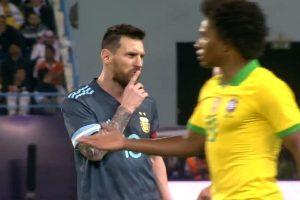 WATCH   Lionel Messi gestures Brazil head coach Tite to 'shut up'