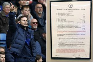 20,000 pounds for turning up late for training; Chelsea boss Frank Lampard trying to instill discipline