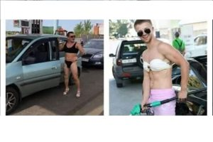 Men turn up in bikinis to get free fuel at Russian petrol pump