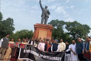 PM Modi remembers BR Ambedkar on Constitution Day in Parliament, opposition protests outside