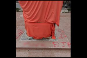 Swami Vivekananda statute pedestal painted with objectionable messages at JNU