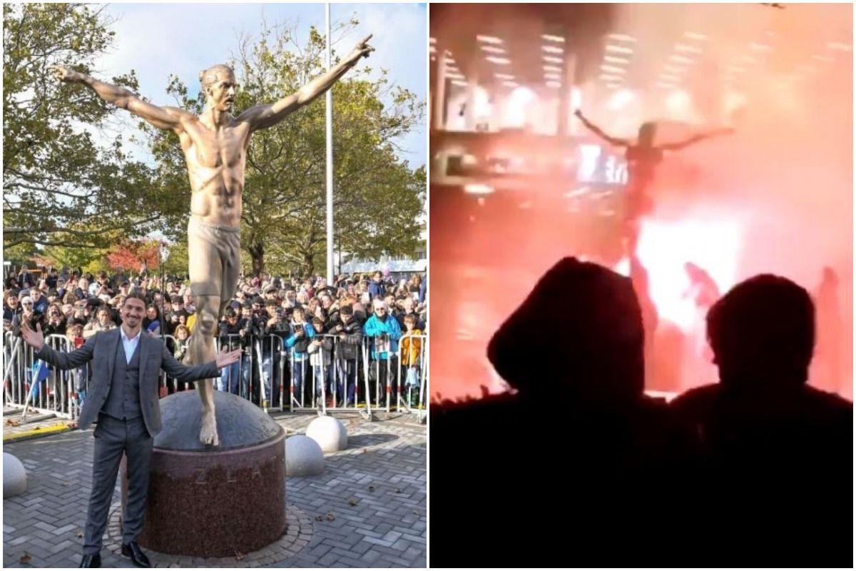 Zlatan Ibrahimovic,Hammarby, Malmo, Ibrahimovic statue, Ibrahimovic statue vandalsied, Ibrahimovic statue fire, Ibrahimovic Hammarby ownership