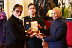 Abhishek posts celebratory pic with Dadasaheb Phalke Film awardee Amitabh Bachchan