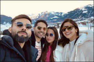 Virat Kohli, Anushka Sharma meet Varun Dhawan, Natasha Dalal on Swiss vacation