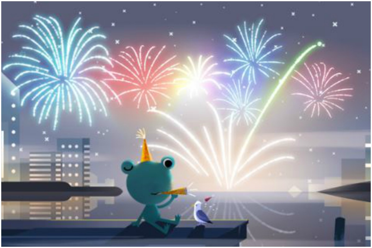 Google marks New Year's Eve 2019; celebrates it with weather frog and fireworks