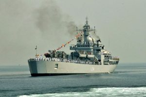 Navy ships INS Kirpan, INS Airavat at Kidderpore docks; students taken on tour aboard