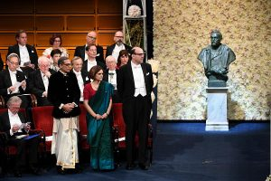 Nobel Prize winners Esther Duflo, Abhijit Banerjee gift Ghana bags, Indian Books to Nobel Museum