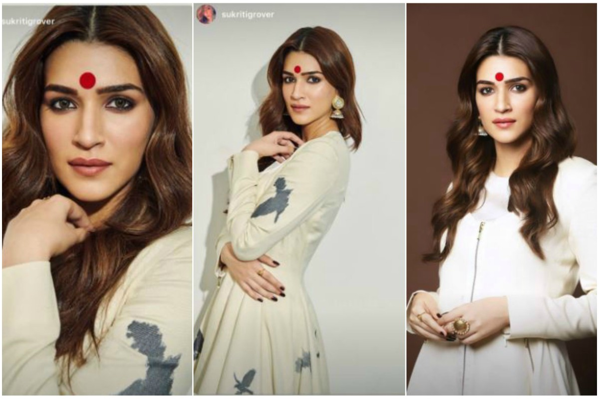 Kriti Sanon's red bindi look seems to be too heavy for her face, check out pics