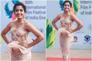 Rashmika Mandanna's looks chic in bodycon strapless dress