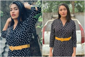 Surbhi Chandna looks stylish in polka-dotted black jumpsuit; check pics