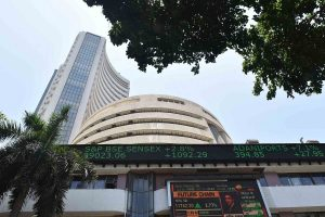 Sensex gains, Nifty surges over 12,300; Infosys maintains top position by 4.6%