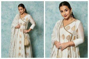 Vidya Balan in white Anarkali suit and potli aces ethnic fashion game, see pics