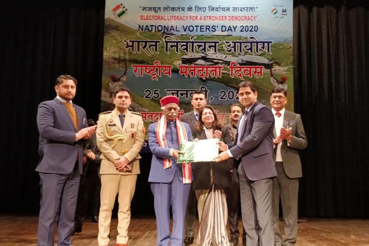 Best Electoral Practices Award, Shimla, Tourisim and Civil Aviation, Yunus, National Voters Day-2020, Himachal, Himachal Pradesh